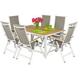 Meble ogrodowe składane aluminiowe verona legno stół i 6 krzeseł - białe - deski polywood marki Edomator.pl
