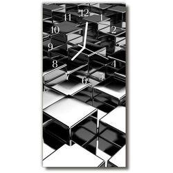Tulup.pl Zegar szklany pionowy sztuka metalowe sześciany czarny