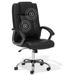 Beliani Krzesło biurowe obrotowe czarne - fotel tapicerowany - masaż - comfort