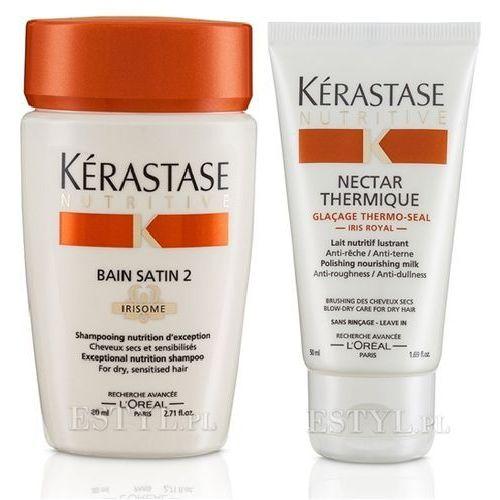 Kerastase Mini zestaw nawilżający: Bain Satin 2 80ml + Nectar Thermique 50ml - z kategorii- pozostałe kosmetyki do włosów