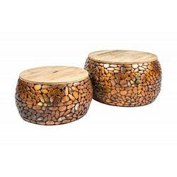 Sofa.pl Invicta stolik kawowy stone mosaic - zestaw 2 sztuk miedziana akacja, drewno akacjowe, stop metalowo aluminiowy