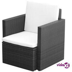 Vidaxl fotel 65 x 73 cm, polirattanowy, czarny