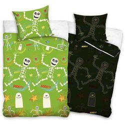 Bedtex Tip trade dziecięca świecąca pościel bawełniana szkielety, 140 x 200 cm, 70 x 80 cm