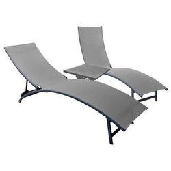 La siesta Zestaw leżaków+stolik, czarno-szary midtl3