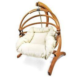 Fotel hamakowy drewniany Gaya(L)-E + stojak Optimist, ecru Zestaw: Gaya (L)-E+Optimist