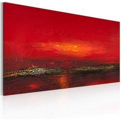 Artgeist Obraz malowany - czerwony zachód słońca nad morzem