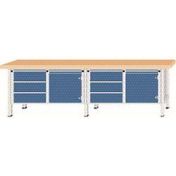 Stół warsztatowy, bardzo szeroki, 2 drzwi, 6 szuflad z częściowym wysunięciem, b