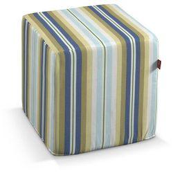 Dekoria Pokrowiec na pufę kostke, niebieskie pasy, kostka 40 × 40 × 40 cm, Mirella