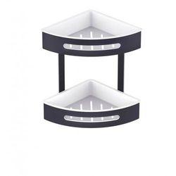 Stella koszyk podwójny narożny, wkłady z tworzywa białe 16.072-B czarny mat