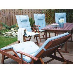 Leżanka ogrodowa drewniana na kółkach poducha jasnoniebieska TOSCANA (4260586359787)