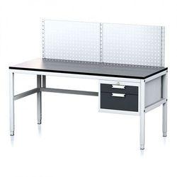 Stół warsztatowy MECHANIC II z panelem perforowanym, 1600 x 700 x 745-985 mm, 2 kontener szufladowy, szary/antracyt