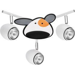 Britop lighting Lampa dla dziecka piesek - doggy biały/ chrom led 3x4,5w gu10 (5902166901014)