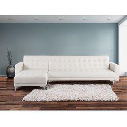 Sofa biala - kanapa - skórzana - rozkladana - naroznik - ABERDEEN - oferta [653fdd46f34fe668]