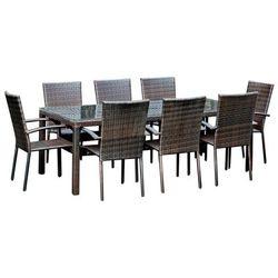Komplet mebli ogrodowych stolik z krzesłami Friends z technorattanu ciemny brąz