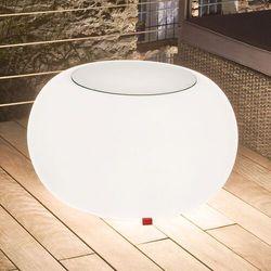 Stół BUBBLE, białe światło i szklany blat, kolor biały