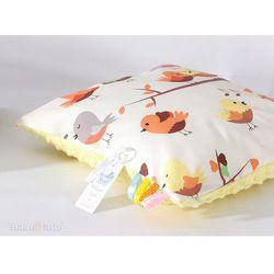 Mamo-tato poduszka minky dwustronna 30x40 ptaszki kremowe / żółty