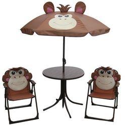 Happy green  dziecięcy zestaw kempingowy monkey - parasol, stolik, 2 krzesełka