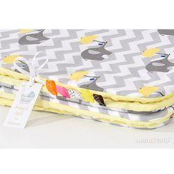 komplet kocyk minky do wózka + poduszka słoń zygzak żółty / żółty marki Mamo-tato