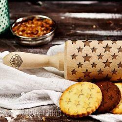 Gwiazdki - grawerowany wałek do ciasta - Gwiazdki - 44cm grawerowany wałek do ciasta