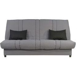 Rozkładana kanapa z tkaniny FARWEST ze skrzynią - Jasnoszara z kontrastującymi poduszkami