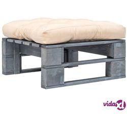 Vidaxl ogrodowe siedzisko z palet, piaskowa poduszka, szare drewno fsc (8718475727828)