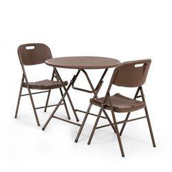 Blumfeldt Burgos, kącik wypoczynkowy, stół, 2 krzesła, rura stalowa, HDPE, imitacja rattanu, składany