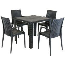 zestaw stół 80 x 80, cztery krzesła imitacja ratan marki Sk design