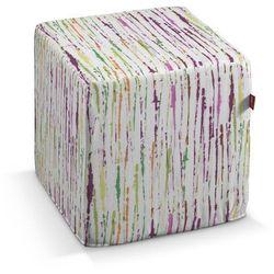 pufa kostka twarda, zielony,fioletowy,szary, 40x40x40 cm, aquarelle marki Dekoria
