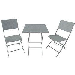 Zestaw ogrodowy szary petra (stolik + krzesło x2), marki Miloo