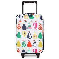 Penny Scallan Design, walizka na kółkach i nóżkach, biało-granatowa w gruszki