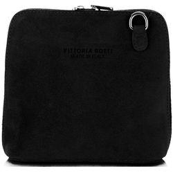 Vittoria gotti Małe torebki skórzane listonoszki firmy wykonane w całości z zamszu naturalnego czarne (kolory)