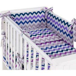 Mamo-tato dwustronna rozbieralna pościel 3-el zygzak fiolet / szary do łóżeczka 70x140cm