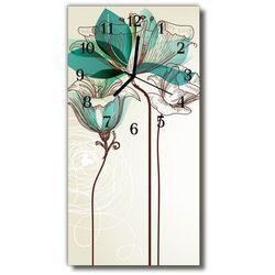 Zegar Szklany Pionowy Kwiaty Kwiat grafika kolorowy, kolor wielokolorowy