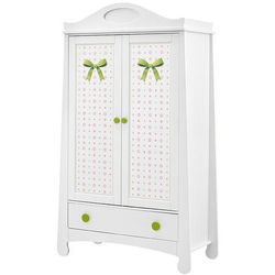 Parole 2 biała szafa - zielony ||biały, marki Pinio meble