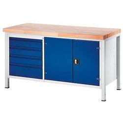 Stół warsztatowy, stabilny, 4 szuflady w rozmiarze l, 1 szafka na narzędzia, głę marki Rau