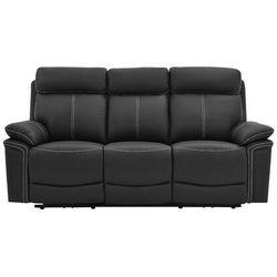 Sofa 3-osobowa ISIRIS ze skóry, z elektryczną funkcją relaksu – kolor czarny, kolor czarny