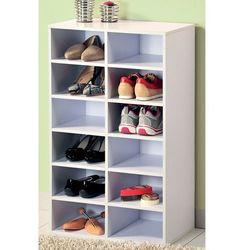 Wysoka szafka na buty z drewna malowana na biało, regał na buty, szafka na buty do przedpokoju, komoda na buty, drewniana szafka na buty, marki Kesper
