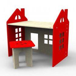 Drewniane biurko czerwone wyprodukowany przez Planeco