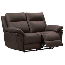 Sofa 2-osobowa z mechanizmem relaksu ze skóry bawolej PAKITA -brązowa