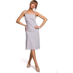 Prosta sukienka bawełniana wiązana na ramionach - szara