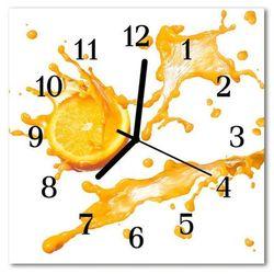 Zegar szklany kwadratowy Sok pomarańczowy