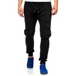 Czarne spodnie dresowe bojówki męskie Denley 0485 - CZARNY