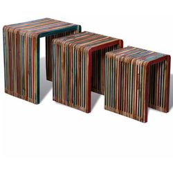 Zestaw 3 stolików wsuwanych pod siebie, kolorowe drewno tekowe