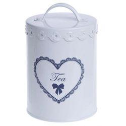 Puszka na herbatę z sercem 15 cm biała