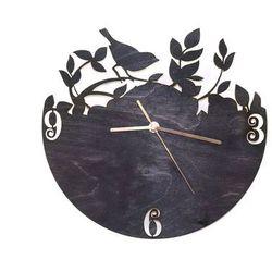 Drewniany zegar na ścianę Ptaszek na gałązce ze złotymi wskazówkami (5907509932359)