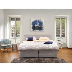 Łóżko jasnoszare - 160x200 cm - kontynentalne - podwójne - admiral marki Beliani