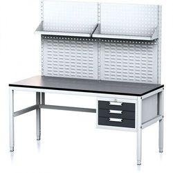 Stół warsztatowy MECHANIC II z panelem perforowanym i półkami, 1600 x 700 x 745-985 mm, 3 kontenery szufladowe, szary/antracyt
