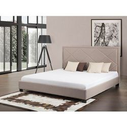 Łóżko beżowe - 180x200 cm - łóżko tapicerowane - MARSEILLE, kolor beżowy