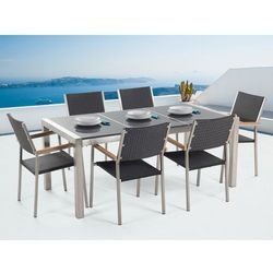 Stół granitowy szary polerowany 180 cm z 6 rattanowymi krzesłami - grosseto, marki Beliani