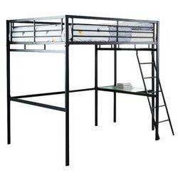 Łóżko antresola CASUAL II - miejsce do spania 140 × 190 - blat biurka - kolor antracytowy